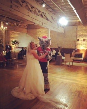 Wedding dance with NC State's Mr. Wuf