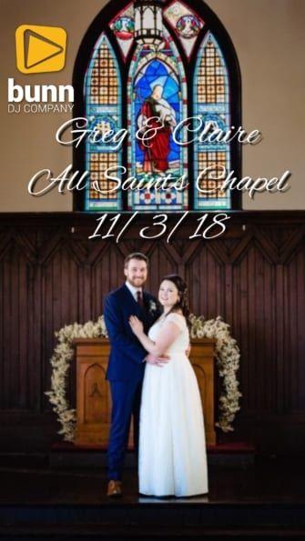 all saints chapel wedding dj bunn dj company