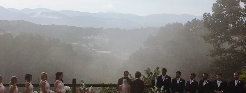 wedding dj view of an outdoor wedding ceremony in asheville, nc